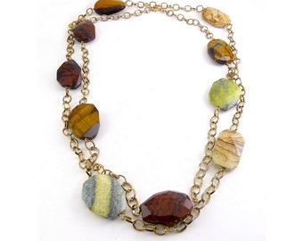 "Large Jasper, Quartz & Agate Beads on 48"" Chain Necklace - Red, Brown, Green, Yellow"
