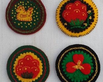 Folk Art Felt Pins