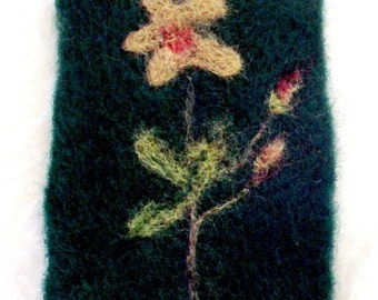 ACEO Felted flower  w  blossoms  original