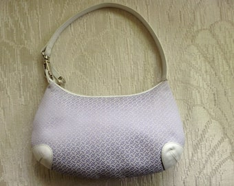 Talbots Signaure Fabric Shoulder Bag In Light Purple & White With Leather Trim