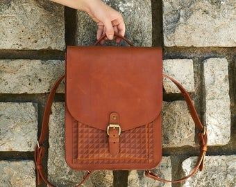Honey brown leather backpack for women. Leather briefcase satchel style bag