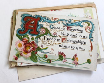 12 Early 1900s Greeting Postcards - Vintage Used Postcards