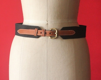 Vintage 80's Black Woven Fabric and Caramel Brown Leathe Belt with Bras Buckle, size 32