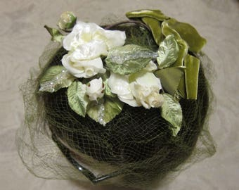 Vintage Miss Sally Victor fascinator floral hat, white roses w green sparkle leaves, velvet bow, & attached veil