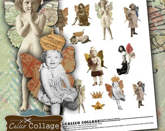 Altered Art Fairies Collage Sheet Decoupage Paper for Altered Art Mixed Media Journalling Calico Collage Vintage Printables Baby Butterflies