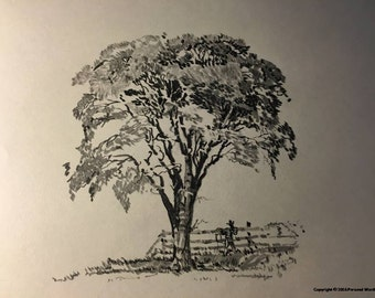 Black and White Tree Sketch Download, Rustic Tree Art Digital Print, Pencil Sketch of Tree on the Farm, Downloadable Tree Drawing Print