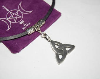 leather choker celtic knot pewter pendant