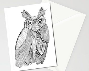Owl, Greeting cards, Set of THREE FOLDED CARDS
