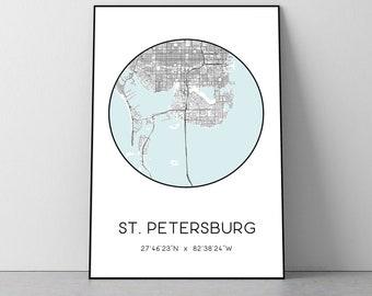 St Petersburg City Map Print (Florida) | St Petersburg poster, St Petersburg map art, St Petersburg wall art print, St Petersburg gift