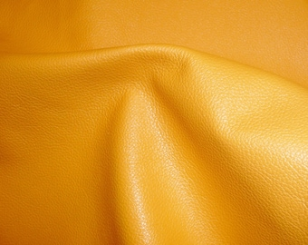 """Leather 12""""x12"""" DIVINE Light Mustard Yellow Top Grain Cowhide - 2.5 oz /1mm - full hides available PeggySueAlso™ E2885-10"""