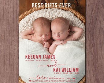 Twin Holiday Birth Announcement Modern Christmas Twins Birth Announcement Modern Twin Announcement Gifts Boys Girls Photo Card Printable