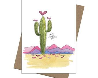 Southwest Saguaro Cactus Hearts | Valentine Card