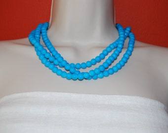 Turquoise Statement Necklace Turquoise Chunky Necklace Bright Blue Glass Beaded Necklace Multi-Strand Bridesmaid Necklace Wedding Jewelry