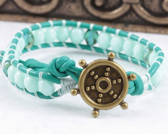 Mint Green Bracelet / Nautical Jewelry / Sea Nautical / Summer Fashion / Sailor Jewelry / Leather Wrap / Ships Wheel / Gift for a Sailor