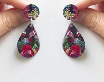Statement Earrings Glitter Acrylic Earrings Confetti Earrings Perspex Earrings Glitter Drop Earring Surgical Steel Earrings Colourful