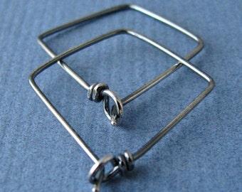Geometric Hoop Earrings, Large Triangles, Antiqued Sterling Silver - Handmade