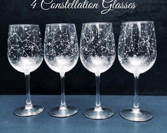 Starry Wine Glasses - Set of 4 Handpainted Star Constellation Wine Glasses - Custom Order Your Own Set