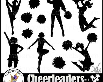 Cheerleader Silhouettes - 11 png & jpg  digital cheerleader clipart graphics {Instant Download}