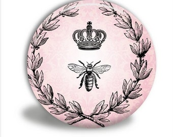 Crown and Bee Pocket Mirror