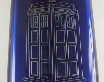 Tardis  Flask Blue  Engraved Tardis - Must See! Unique ! With Name on back