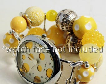 Mellow Yellow.. Dark Yellow and Silver Chunky Acrylic Interchangeable Beaded Watch Band, Bracelet Watch