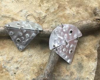 Silver geometric chandelier earrings