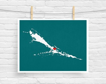 Great Exuma Map - Little Exuma Map - Custom Personalized Bahamas Heart Print - I Love the Cays Wall Art Gift Souvenir - Destination Wedding