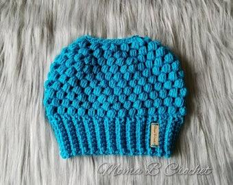 Crochet Adult Messy Bun Hat, Messy Bun Hat, Messy Man Bun Hat, Pony Tail Hat, Messy Bun Toque, Claire Messy Bun, Claire Messy Bun Hat