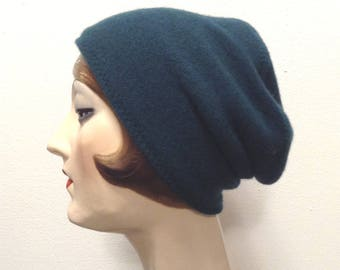 Pure Cashmere Rollup hat, slouch beanie, teal, unisex.  FREE SHIPPING in the US