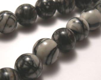 Silk Stone Round Beads 10mm - Half Strand