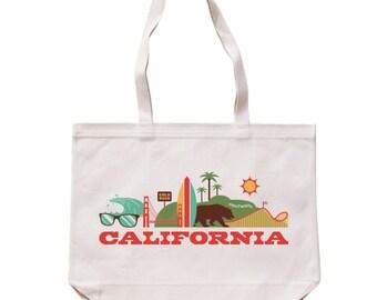 City Living Tote bag - California - Market bag - Reusable bag - Canvas tote - Shopping bag - Shoulder bag - Organic