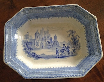 Antique Blue Transferware Eight Sided Bowl, Baronial Halls, Mayer, England, Antique Collectible, Farmhouse Decor, English Country, Gift