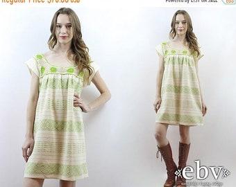 Mexican Mini Dress Cream Dress Crochet Dress Hippie Dress Hippy Dress Boho Dress Bohemian Dress Festival Dress 1970s Dress 70s Dress S M L