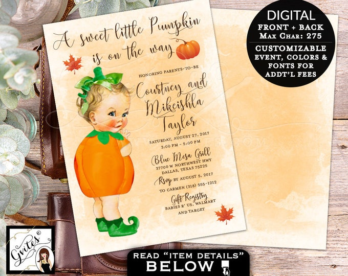 Pumpkin baby shower invitation, BABY GIRL A little pumpkin is on the way, fall invites, DIY Digital File, 5x7, double sided.