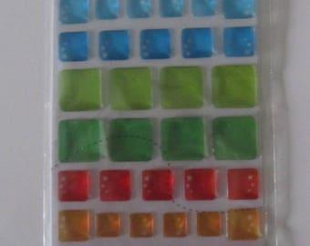 Set of 90 sticker epoxy pastel geometry - transparent