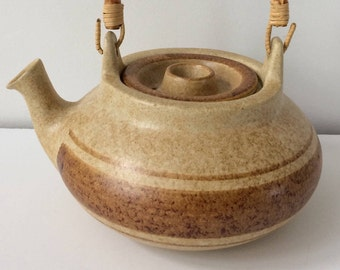 Pottery Craft made in USA stoneware teapot with bamboo handle / Mid Century