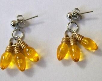 Christmas Earrings, Light Bulb Earrings, Christmas Light Bulb Earrings, Cluster Earrings, Christmas Earrings