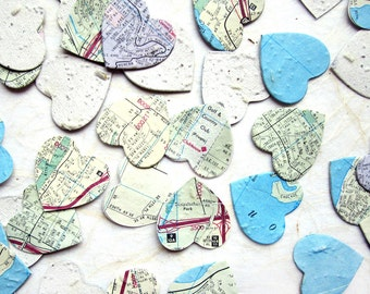 100 Seed Map Hearts Flower Seed Paper Wedding Favor Hearts - Plantable Map Hearts Paper