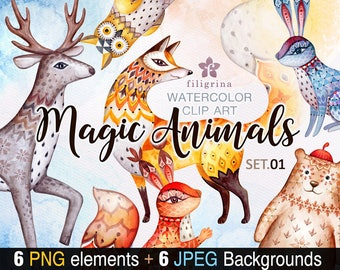 MAGIC ANIMALS watercolor Clip Art. Cute zoo, bear, deer, fox, rabbit, squirrel, owl bird. 6 elements, pattern backgrounds. Read about usage