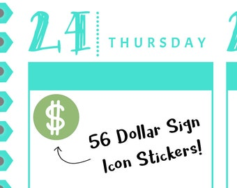 58 | Dollar Sign Icon Reminder Stickers {56 Fancy Matte or Glossy Planner Stickers, Double Rainbow Minimalist Theme}