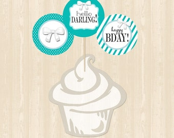 Tiffany's Birthday Cupcake Toppers
