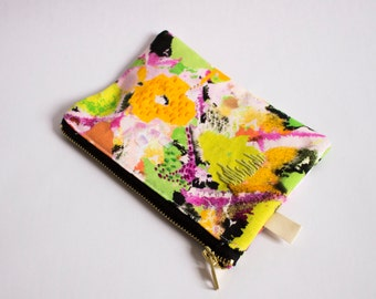 Juno A, Digitally Printed and Hand Embroidered, Silk Lining,  Zipper Pouch, Zip Bag, Make up bag, Purse