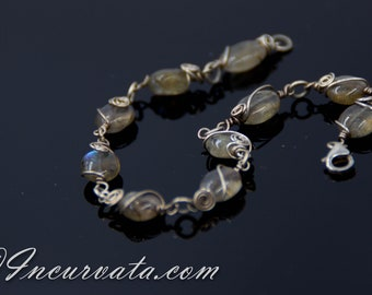 Labradorite Wire Wrapped Bracelet