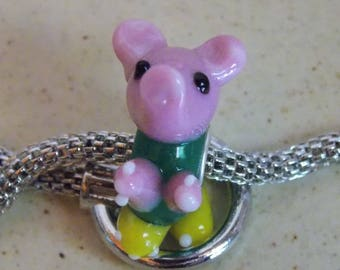 Pig charm worked glass and metal bead
