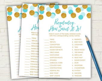 Blue and Gold Baby Shower - PRINTABLE - How Sweet It Is - Game - Cards - INSTANT DOWNLOAD - Pregnancy - Gold - Glitter - Baby Shower - 0113