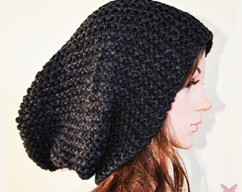 Slouchy beanie  MARENGO Grey (or choose color) - knit - womens teen girls - slouch chunky - wool hat - charcoal - gift