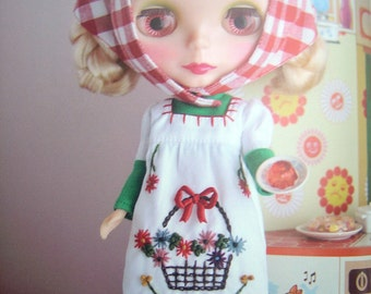 Kenner Blythe doll Country Zakka style Embroidered Dress sewing crafts pdf E PATTERN in Japanese and Templates Titles in English
