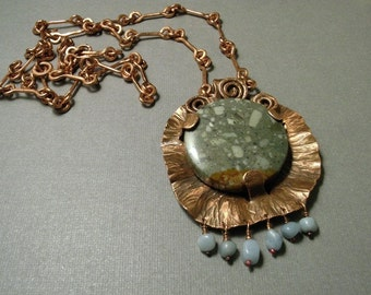 Copper necklace handmade, pendant with  green stone, copper chain handmade, OOAK necklace, gift for her, handmade jewelry