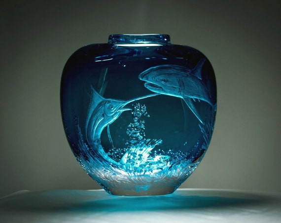 Hand Engraved Marlin, Charging Marlin, marlin, Shark, ocean, Flower Vase, personalized, engraved, home decor, Art Glass