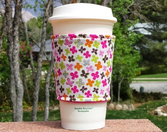 Fabric coffee cozy / cup sleeve / coffee sleeve / coffee cup holder / white darling ditzy - hand picked Jackie Studio
